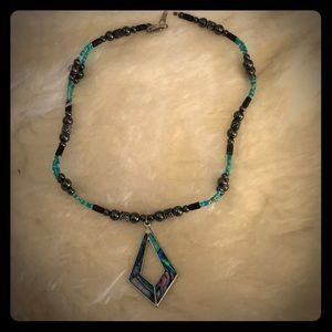 Jewelry - Pretty Teal & Hematite Fashion Necklace